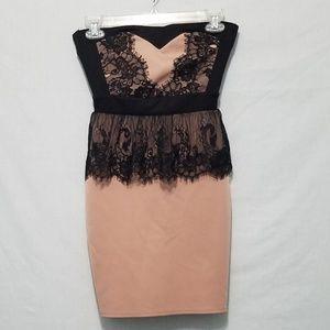Pink and Black Strapless Minidress